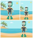 Male scuba diver on the beach vector illustration. Stock Image