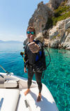 Male Scuba Diver shows the thumbs up sign Royalty Free Stock Photo