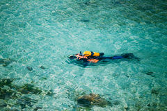 Male scuba diver swimming under water in sea ocean Royalty Free Stock Image