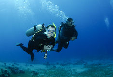 Male scuba divers. Two scuba diver enjoying a dive Royalty Free Stock Image