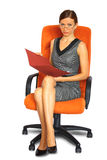Male secretary on chair isolated Royalty Free Stock Photography
