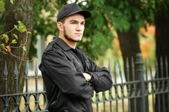 Male security guard. On city street Royalty Free Stock Photos