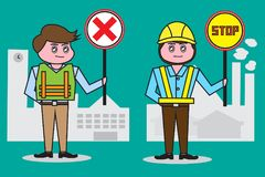Male security guard , Holding signs and wearing a reflective safety vest is required To operation School and factory. Stock Photo