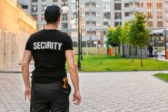 Male security guard, outdoors. Male security guard, out doors Stock Photo