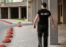 Male security guard, outdoors stock image