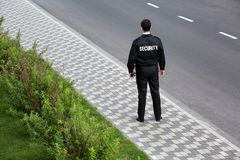 Male security guard, outdoors royalty free stock photos