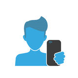 Male selfie blue icon Stock Photos