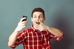 Male selfie for happy young sportsman with thumb up Royalty Free Stock Photo