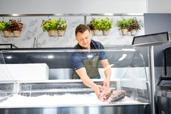 Male seller putting trout to fridge at fish shop. Food sale, small business and people concept - male seller putting trout to fridge at fish shop Royalty Free Stock Photography
