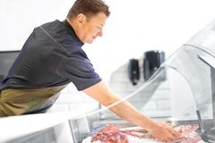 Male seller with seafood at fish shop fridge. Food sale, small business and people concept - male seller with seafood at fish shop fridge Stock Image