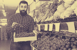 Male seller showing fresh tomatoes in grocery shop Stock Photography
