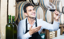 Male seller in wine store. Smiling man seller in apron holding glass of red wine in shop with wooden barrels Stock Photography