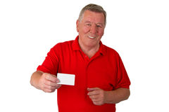 Male senior with business card. Isolated on white background Stock Photo
