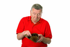Male senior with empty wallet Stock Images
