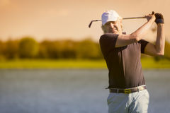 Male senior golfer from front. royalty free stock images