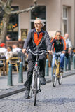 Male senior on his bicycle, Breda, Netherlands. BREDA-MARCH 31, 2017. Male senior on his bike. Cycling is a ubiquitous mode of transport in the Netherlands, 36% Royalty Free Stock Image