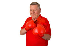 Male senior with red box gloves. Isolated on white background Royalty Free Stock Image