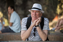 Male senior tourist royalty free stock images