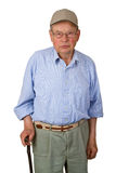 Male senior with walking stick Royalty Free Stock Image