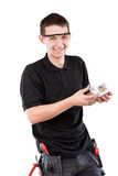 Male serviceman. With electrical outlet Stock Image