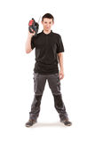Male serviceman. With hammer drill Royalty Free Stock Photos