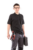 Male serviceman. With safety glasses and toolbox Royalty Free Stock Images