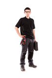 Male serviceman. With safety glasses and toolbox Stock Photography