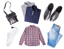 Male set of clothes top view isolated. Stock Image