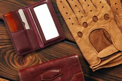 Male set. Leather gloves, bag, comb and mirror royalty free stock image