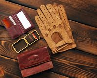 Male set. Leather gloves, matches, bag, hairbrush and mirror stock photo