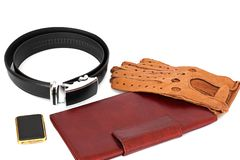 Male set. Men`s Accessories. The real man`s set.  royalty free stock image