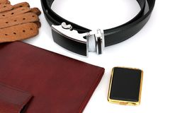 Male set. Men`s Accessories. The real man`s set.  royalty free stock images
