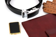 Male set. Men`s Accessories. The real man`s set.  royalty free stock photography