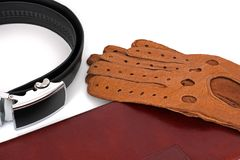 Male set. Men`s Accessories. The real man`s set.  royalty free stock photos