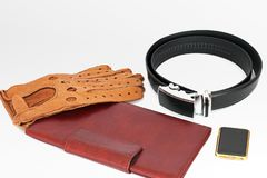 Male set. Men`s Accessories. The real man`s set.  royalty free stock photo