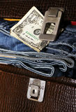 Male set and money. Jeans style Stock Photography