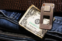 Male set and money. Jeans style Stock Image