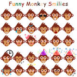 Male set of smilies in form of head monkeys Royalty Free Stock Photography