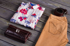 Male set of spring clothing. Male set of spring clothing and accessories Royalty Free Stock Photography