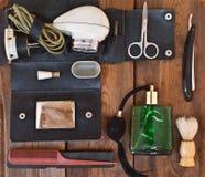 Male shaving accessories. Retro concep Royalty Free Stock Photo