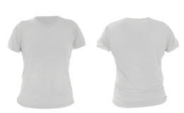Male shirt template, gray, front and back design. Close up of t shirt on white background Stock Image