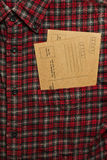 Male shirt with vintage postcards in the pocket. Male checkered cowboy`s shirt with two vintage postcards in the pocket stock photography