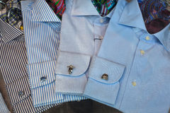 Male shirts. Close up of male shirts exposed in the clothes shop Stock Images