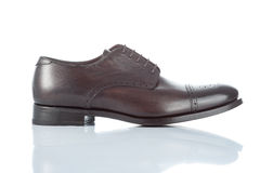 Male shoe. Side of brown leather male shoe. isolated on white Stock Photo