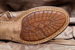 Male shoe sole. Handmade shoes. Vintage style. Cowboy style Stock Image