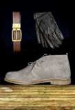 Male shoe with strap and gloves Stock Photos