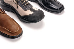 Male shoes. Male leather shoes on white Stock Photos