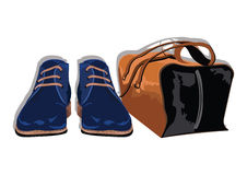 Male shoes and bag Royalty Free Stock Photos