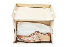 Male shoes in box Royalty Free Stock Image
