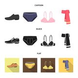 Male shoes, bra, panties, scarf, leather. Clothing set collection icons in cartoon,black,flat style vector symbol stock. Illustration Royalty Free Stock Photo
